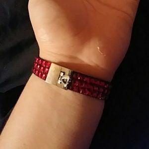 Red bedazzled bracelet